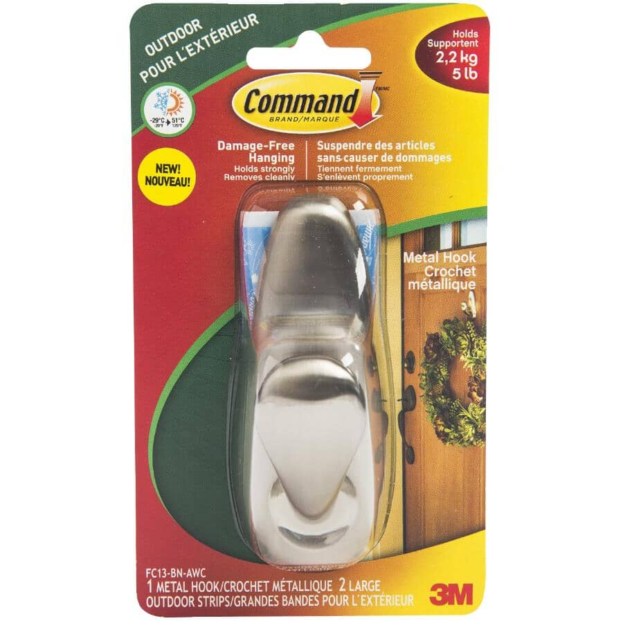 COMMAND:Large Metal Adhesive Hook, with All Weather Strip