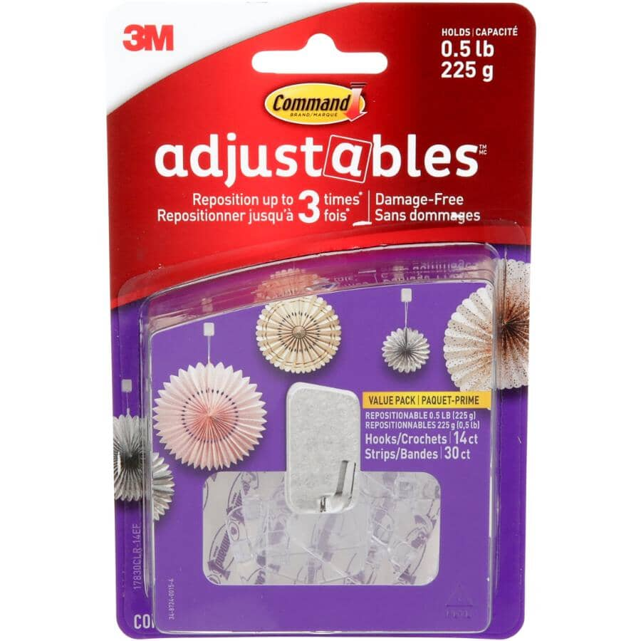 COMMAND:Adjustables Repositionable Hooks - with 14 Hooks + 30 Strips