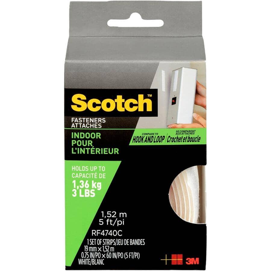SCOTCH:Bande de fixation crochets et boucles de 3/4 po x 5 pi, blanc