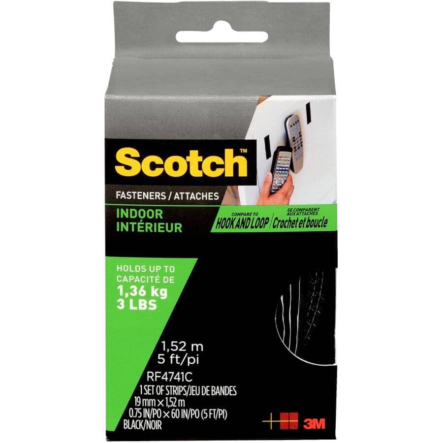 SCOTCH:Bande de fixation crochets et boucles de 3/4 po x 5 pi, noir