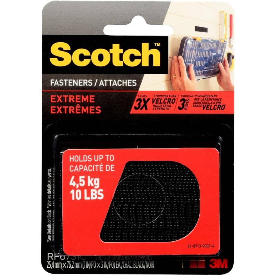 SCOTCH:Paquet de 2 bandes de fixation crochets et boucles Extreme de 1 po x 3 po, noir