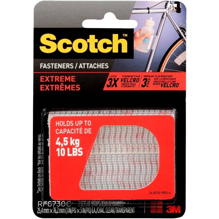 """SCOTCH:2 Pack 1"""" x 3"""" Clear Hook and Loop Extreme Strip Fasteners"""