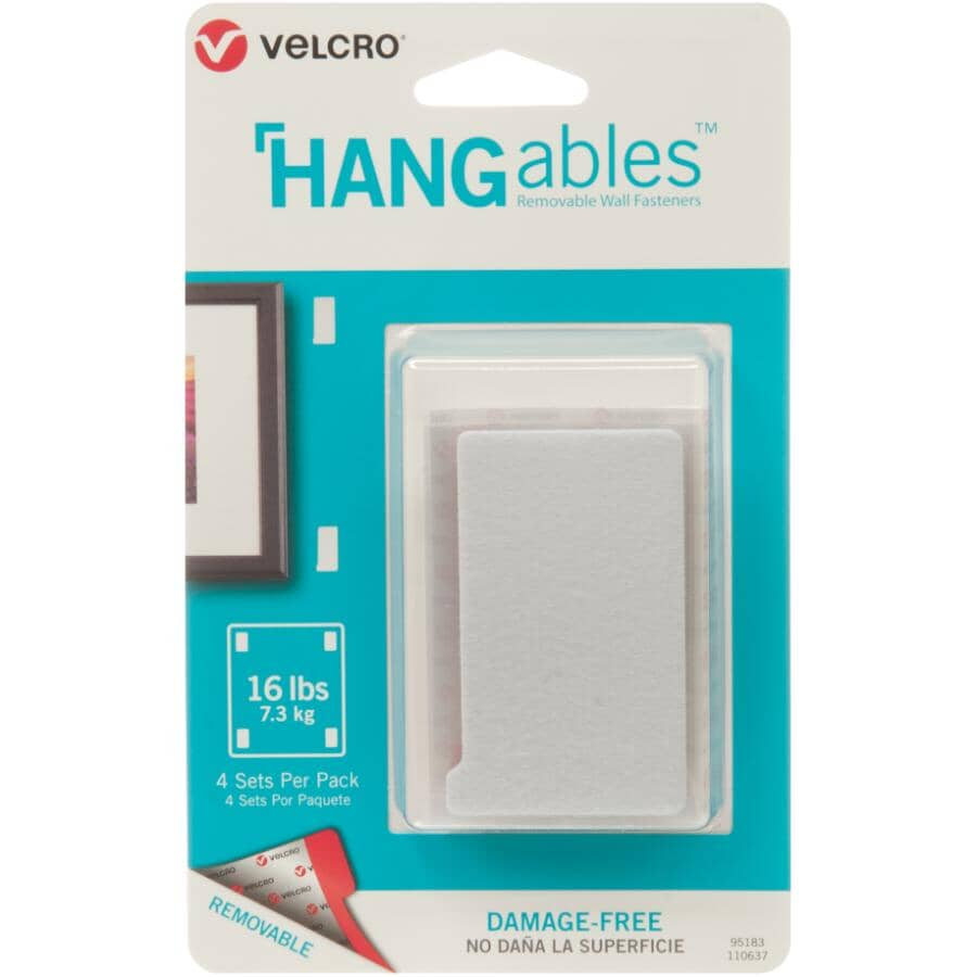 "VELCRO (R) BRAND FASTENERS:4 Pack 3"" Rectangular Hangables Fasteners"