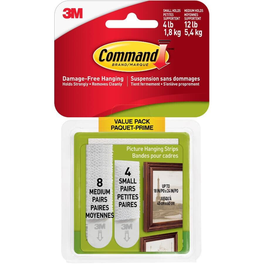 COMMAND:12 Pack of 4lb & 12lb Adhesive Picture Hangers