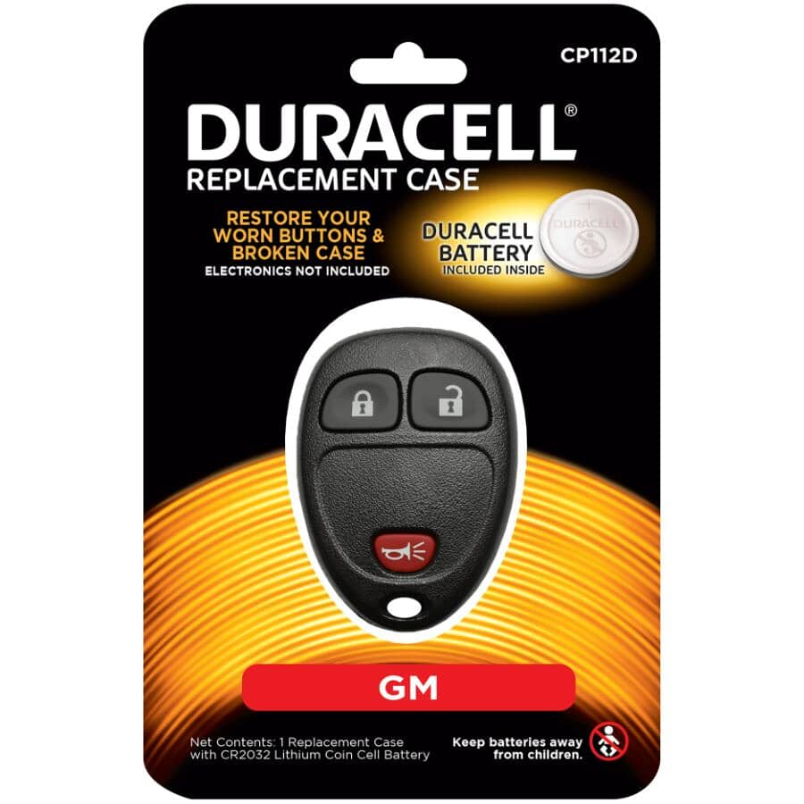 DURACELL:3 Button GM Fob Case - with Battery