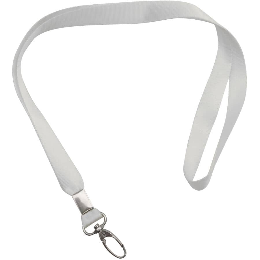 """HOME:18"""" White Keychain Strap, with Swivel Metal Clip"""