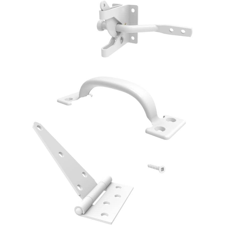 BUILDER'S HARDWARE:4 Piece White Gate Hardware Kit