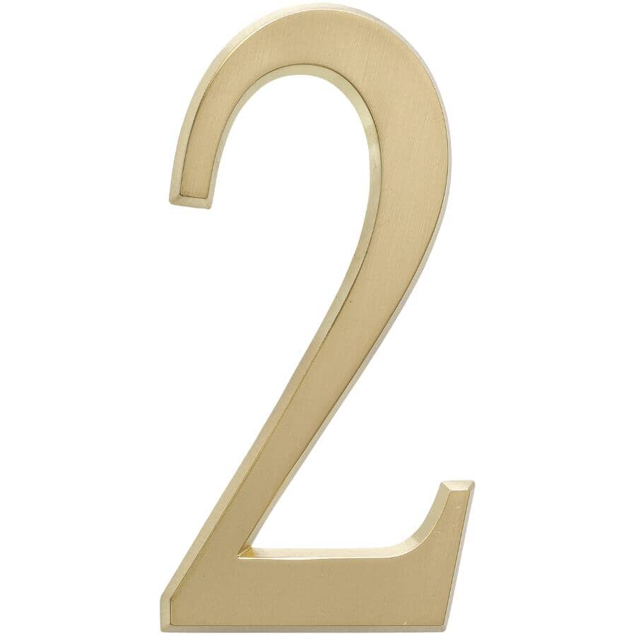 """WHITEHALL PRODUCTS:4.75"""" Aluminum Satin Brass '2' House Number"""