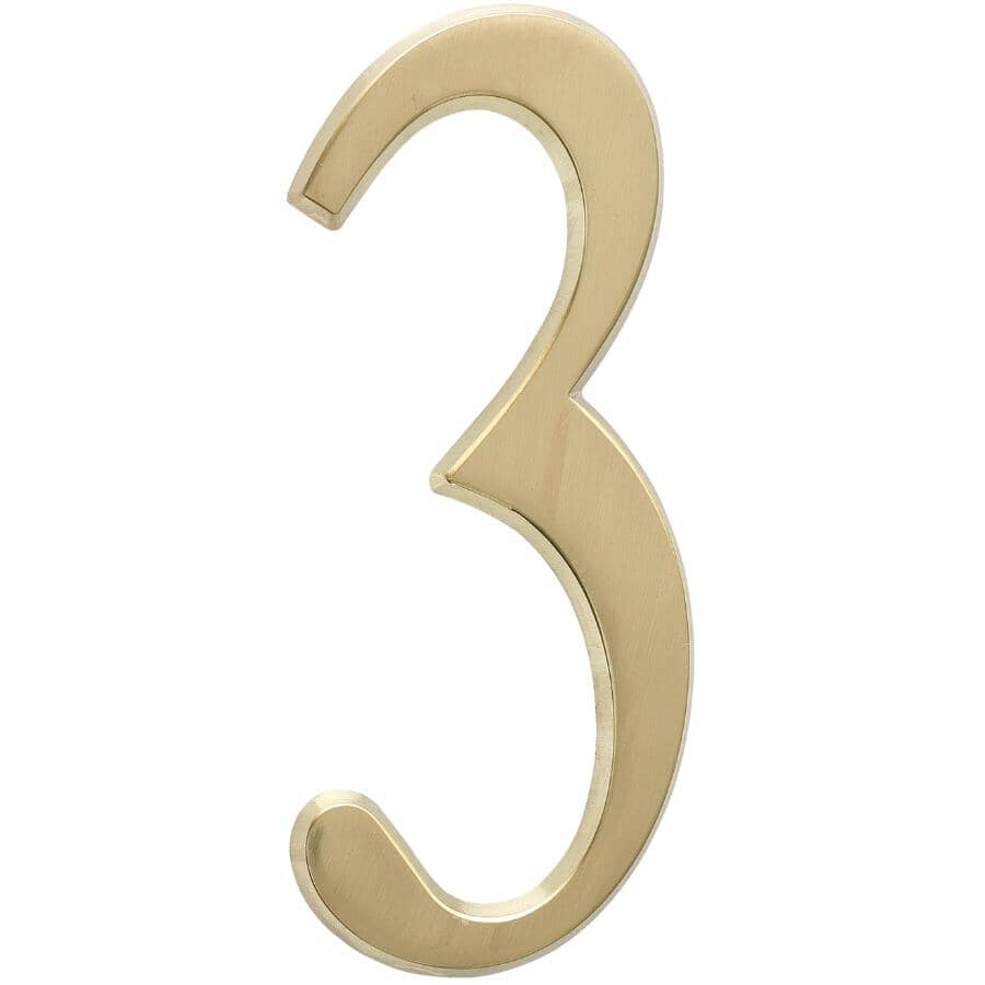 """WHITEHALL PRODUCTS:4.75"""" Aluminum Satin Brass '3' House Number"""