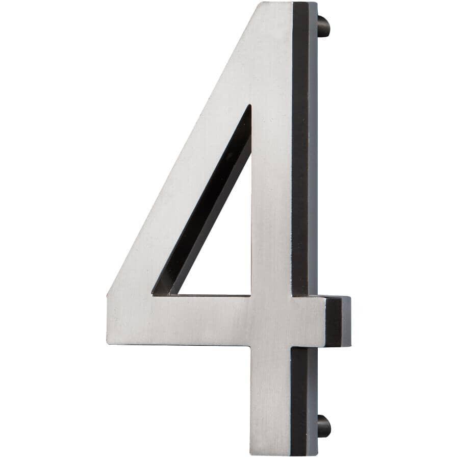 """PRO-DF:5"""" Satin Nickel Backlit LED House Number '4'"""