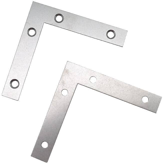 "BUILDER'S HARDWARE:3"" x 1/2"" Flat Corner Plates - Stainless Steel, 2 Pack"