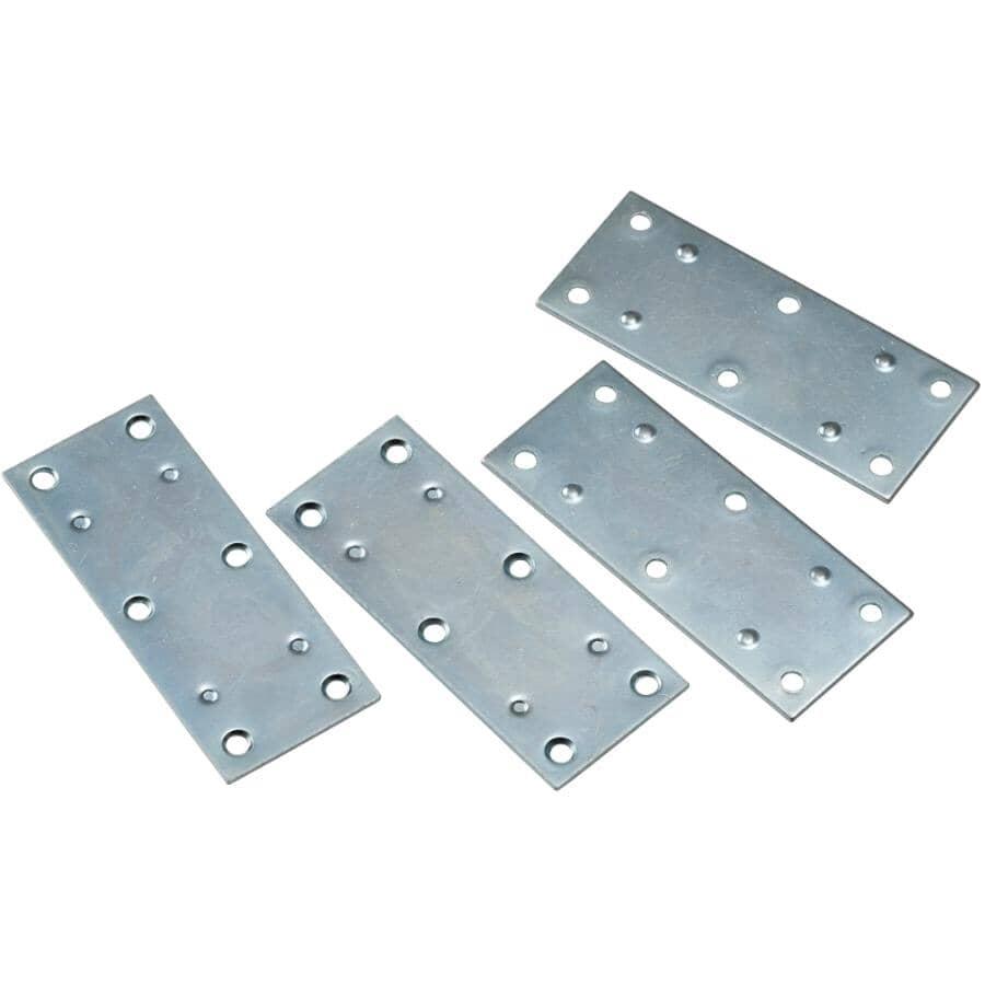 "BUILDER'S HARDWARE:3-1/2"" Zinc Mending Plates - 4 Pack"