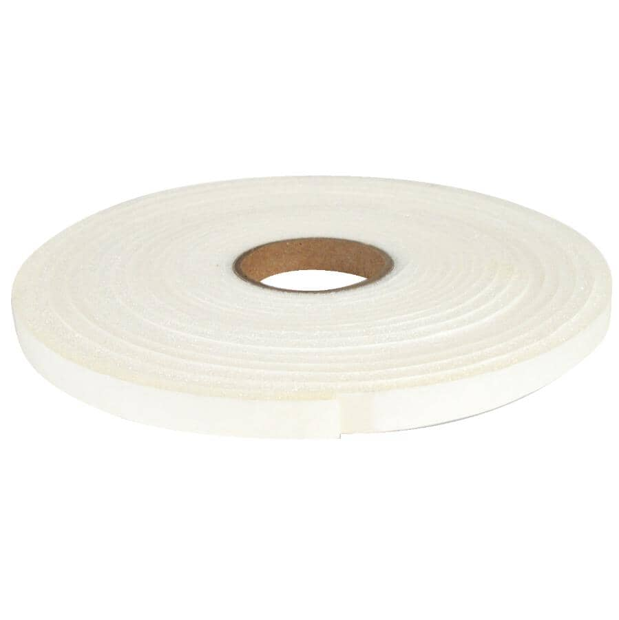 """CLIMALOC:Open Cell Foam Weatherstripping Tape - White, 3/16"""" x 1/2"""" x 16'"""