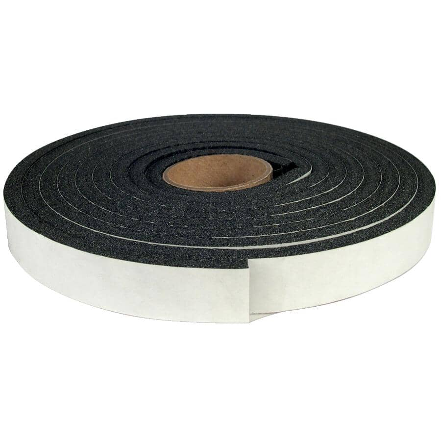 """CLIMALOC:Closed Cell Foam Weatherstripping Tape - 1/4"""" x 3/4"""" x 9.8', Black"""