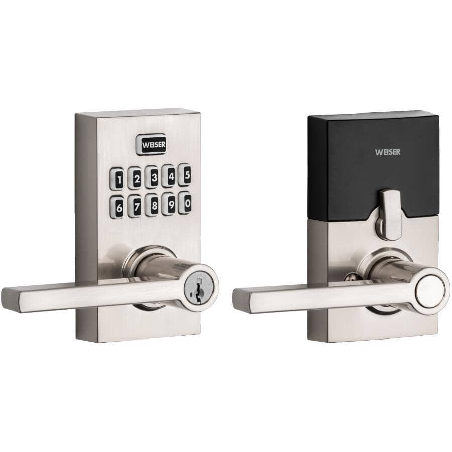 WEISER LOCK:Electronic Lever Deadbolt Lock - Satin Nickel Finish, with Smart Code & Smart Key Technology