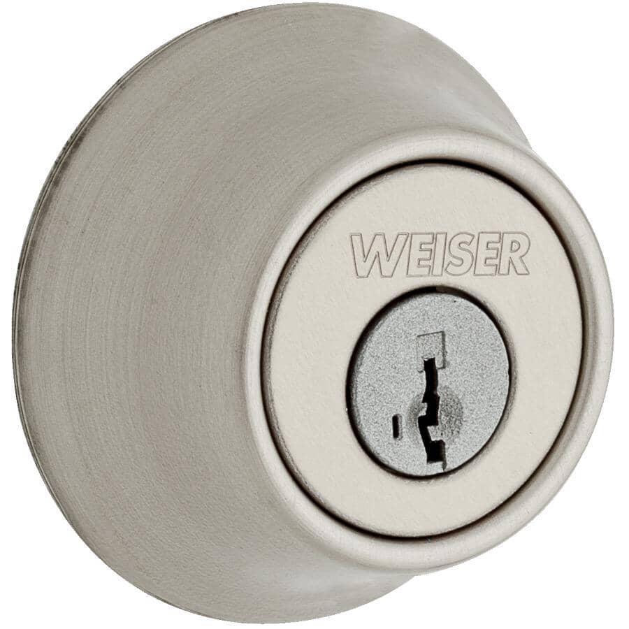 WEISER LOCK:Round Single Cylinder Deadbolt Lock - Satin Nickel + Smart Key