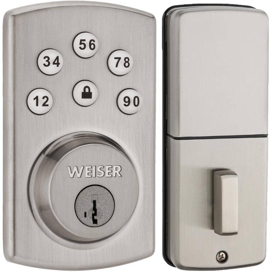 WEISER LOCK:Satin Chrome Electronic Smart Key Powerbolt Deadbolt Lock