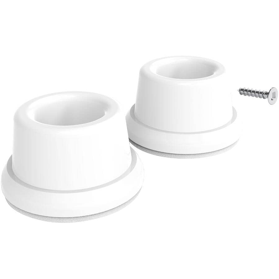 BUILDER'S HARDWARE:2 Pack White Concave Wall Door Stops
