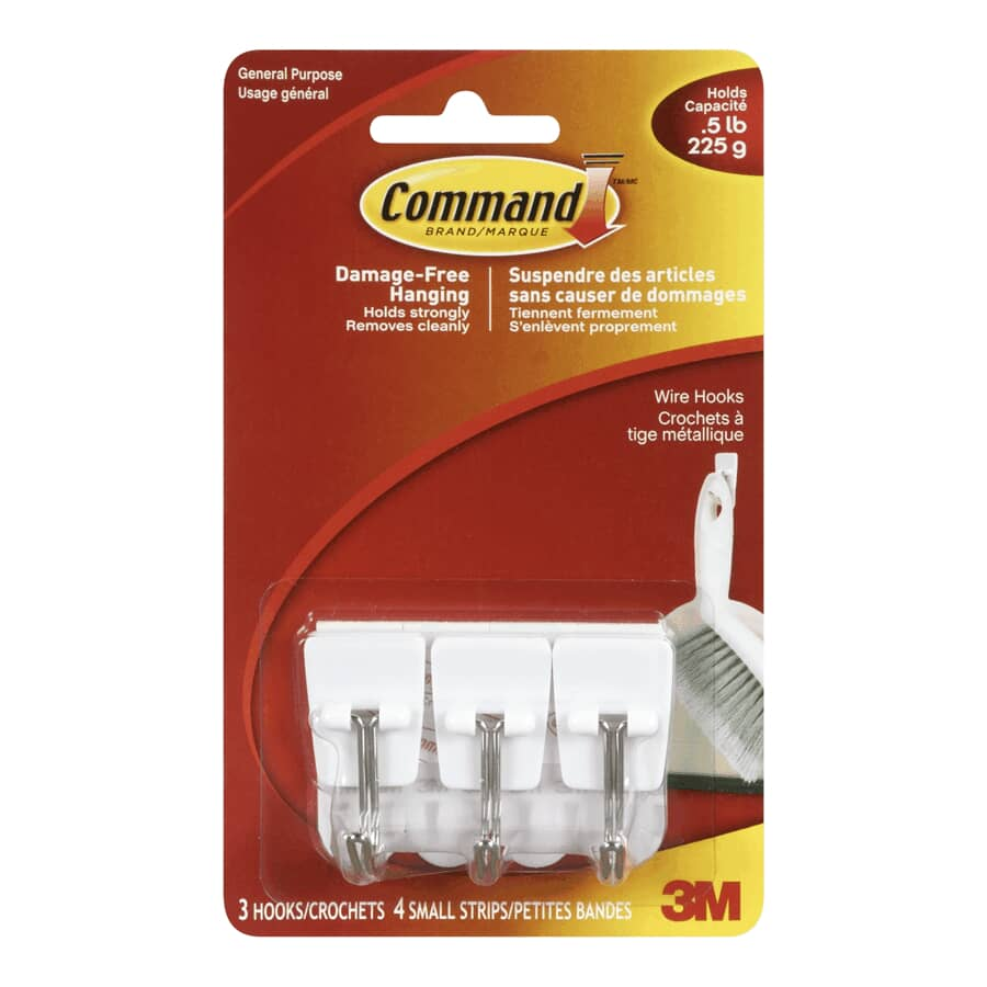 COMMAND:3 Pack Small Metal Adhesive Hooks