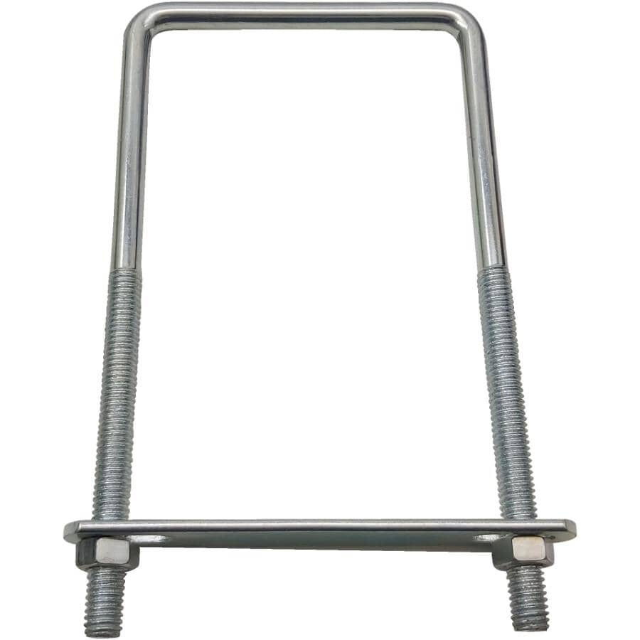 """BUILDER'S HARDWARE:3/8"""" x 3-5/8"""" x 7"""" Square U Bolt with Plate & Nut - Zinc Plated"""