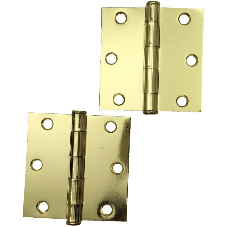 """BUILDER'S HARDWARE:12 Pack 3"""" Bright Brass Square Butt Hinges"""