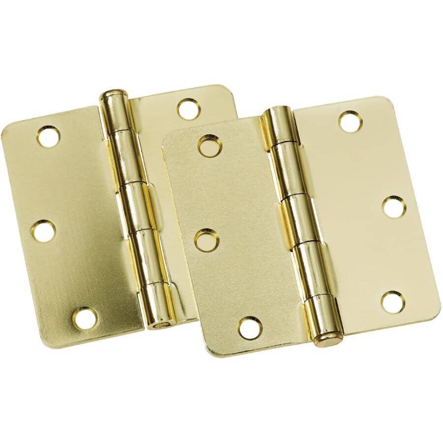 """BUILDER'S HARDWARE:2 Pack 3-1/2"""" Bright Brass Finish 1/4"""" Radius Butt Hinges"""