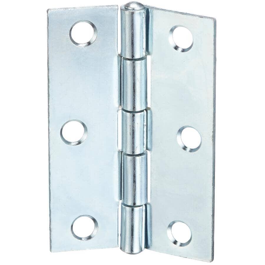 "BUILDER'S HARDWARE:2 Pack 2-1/2"" Zinc Fixed Pin Narrow Hinges"