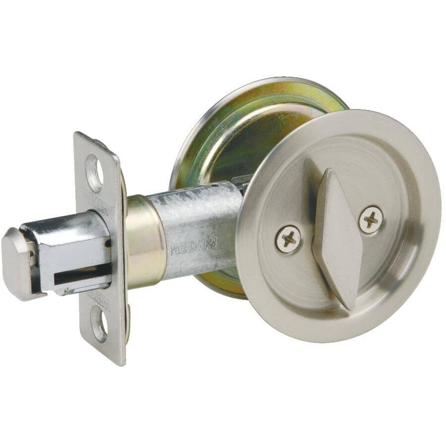 WEISER LOCK:Satin Nickel Round Pocket Door Privacy Lock