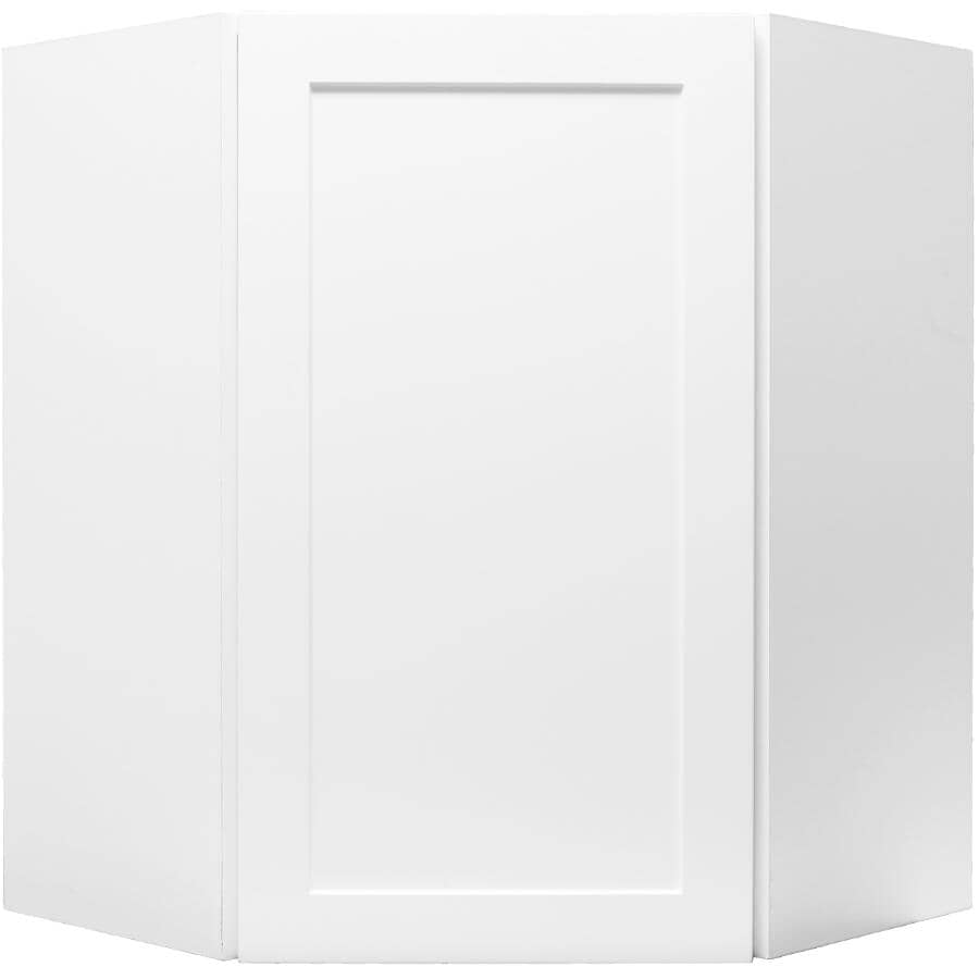 "CABINETSMITH:Huntsville Reversible Left-Hand Door Assembled Upper Corner Cabinet - White, 24"" x 30"""