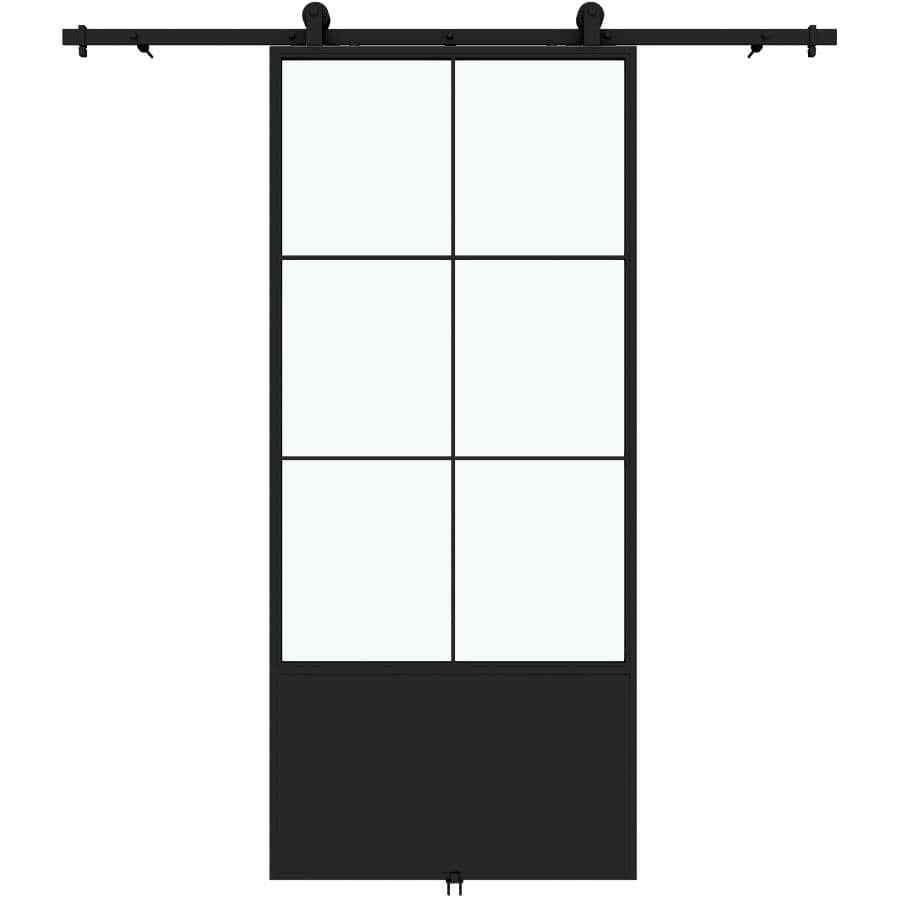 """COLONIAL ELEGANCE:Broadway Sliding Barn Door Kit - with Hardware + Clear Glass, 37"""" x 84"""""""