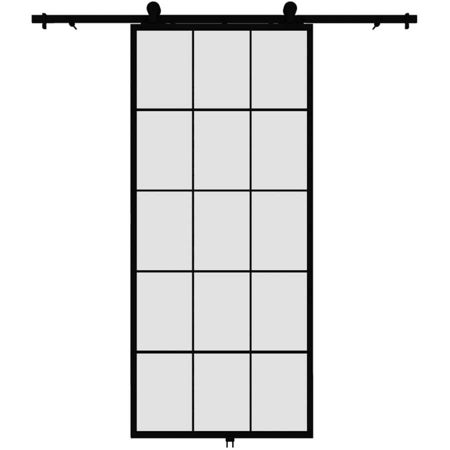 """COLONIAL ELEGANCE:Queen's Sliding Barn Door - with Hardware + Clear Glass, 37"""" x 84"""""""