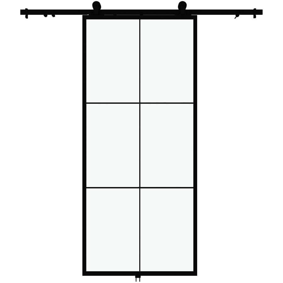 "COLONIAL ELEGANCE:Lexington Sliding Barn Door - with Hardware + Clear Glass, 37"" x 84"""