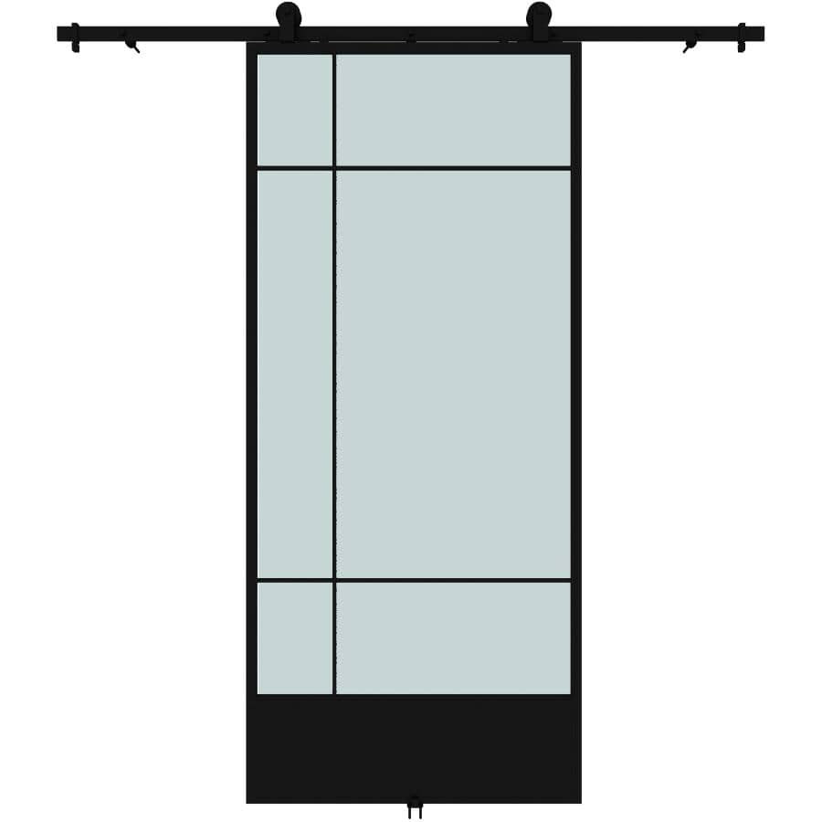"""COLONIAL ELEGANCE:Bastille Sliding Barn Door Kit - with Hardware + Frosted Glass, 37"""" x 84"""""""