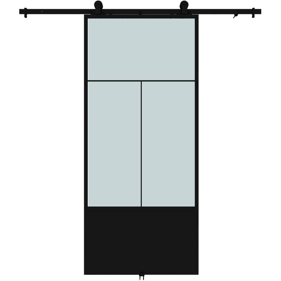 """COLONIAL ELEGANCE:Nation Sliding Barn Door - with Hardware + Frosted Glass, 37"""" x 84"""""""