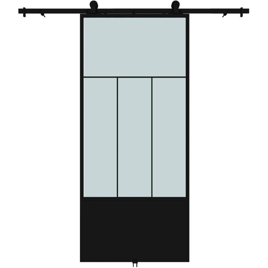 """COLONIAL ELEGANCE:Division Sliding Barn Door - with Hardware + Frosted Glass, 37"""" x 84"""""""