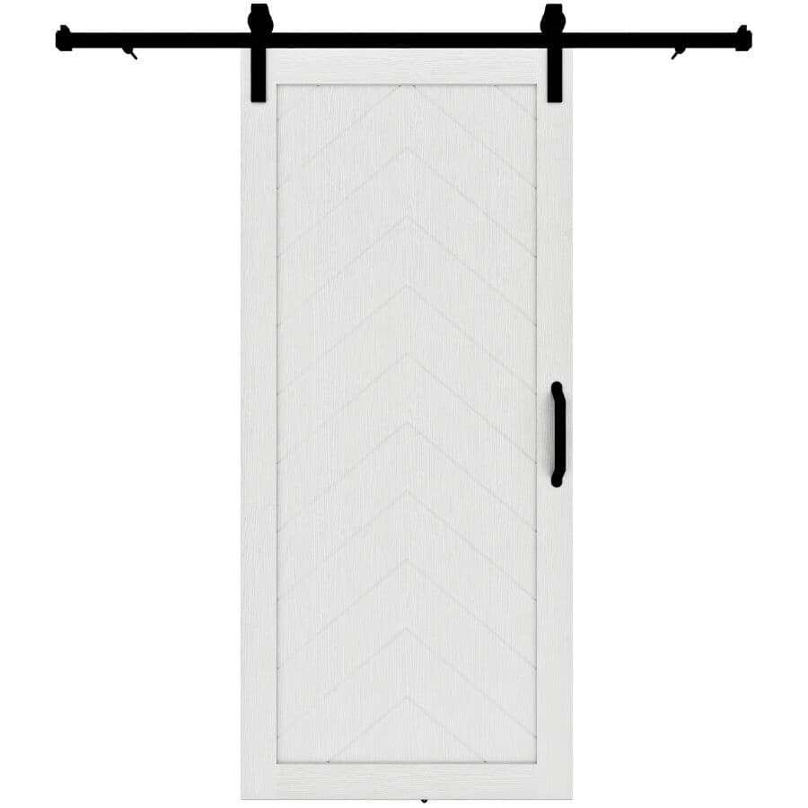 "COLONIAL ELEGANCE:Herringbone Barn Door - with Hardware + White, 37"" x 84"""