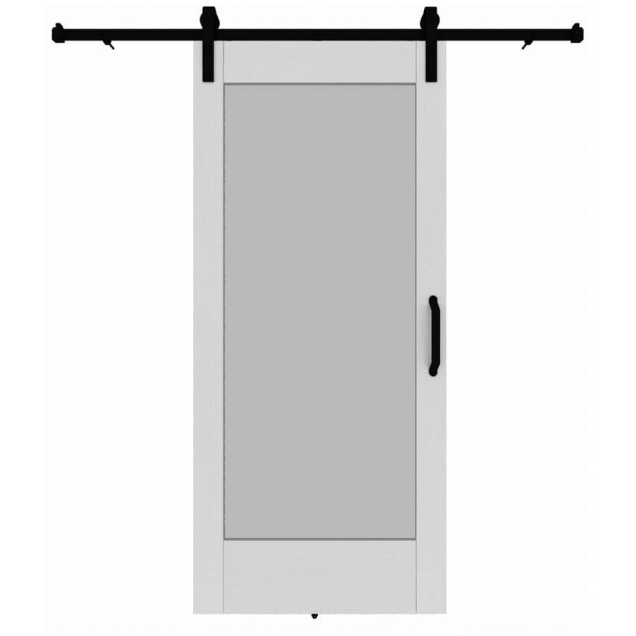 """COLONIAL ELEGANCE:1-Lite Barn Door - with Hardware + White, 37"""" x 84"""""""