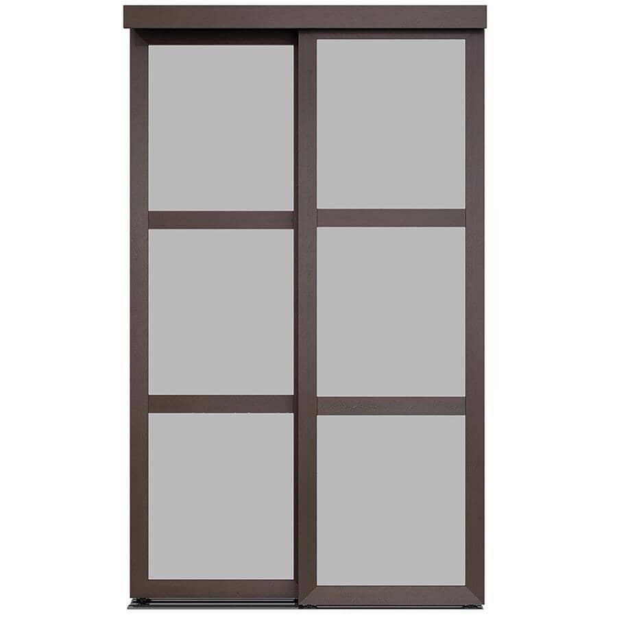 "COLONIAL ELEGANCE:3-Lite Fusion Sliding Closet Doors - Frosted Glass + Mocha Finish, 72"" x 80"""