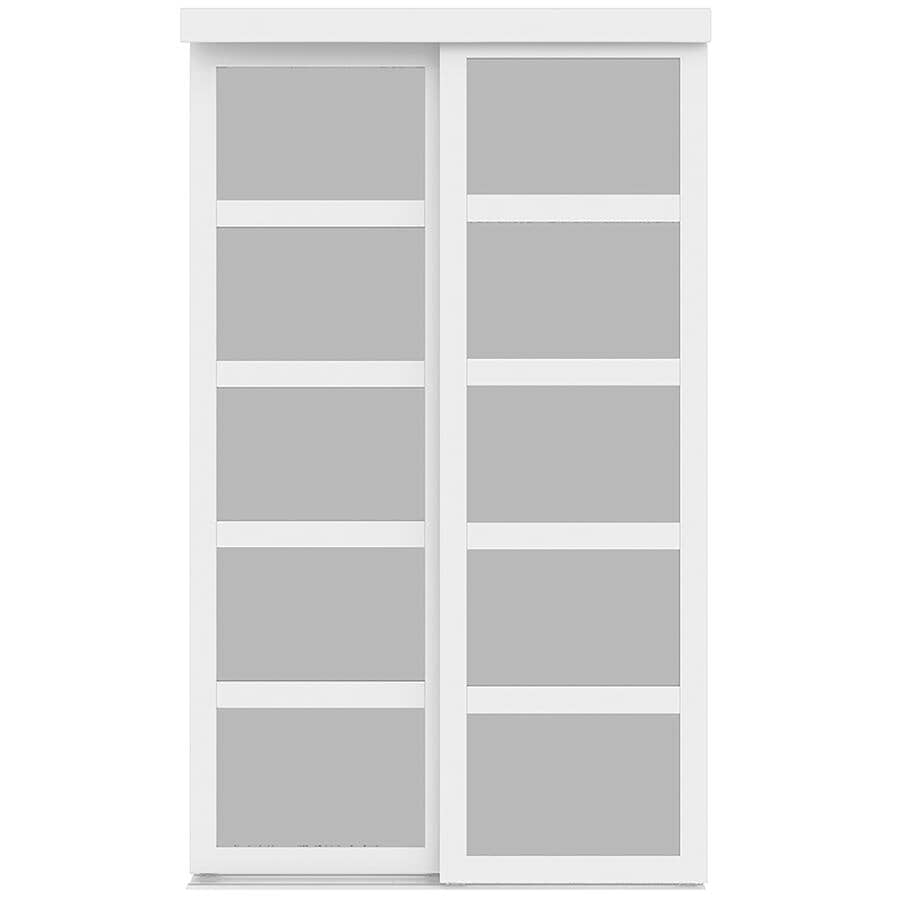 """COLONIAL ELEGANCE:5-Lite Fusion Sliding Closet Doors - Frosted Glass + White Finish, 72"""" x 80"""""""
