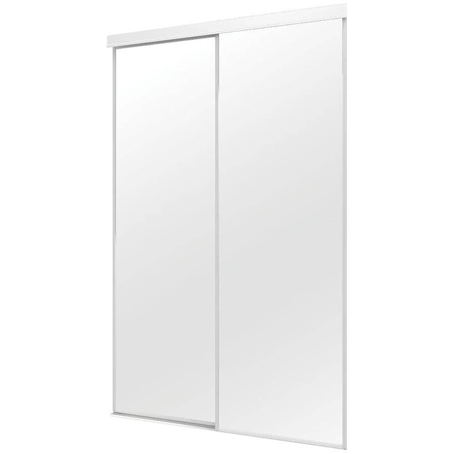 "COLONIAL ELEGANCE:Mirror Sliding Closet Door - Top Roll + White, 36"" x 80"""