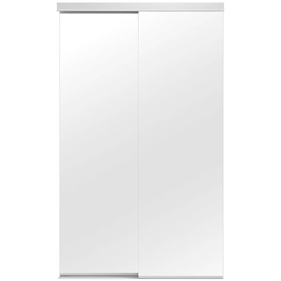 "COLONIAL ELEGANCE:Mirror Sliding Closet Door - Bottom Roll, White - 48"" x 80"""