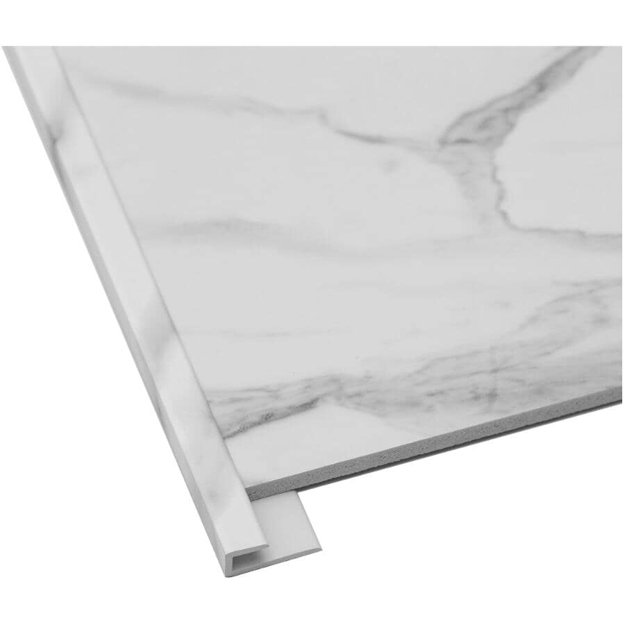 """ACOUSTIC CEILING PRODUCTS:Palisade Collection PVC J-Trim Edging - Carrara Marble, 94"""""""