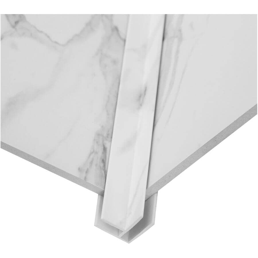 """ACOUSTIC CEILING PRODUCTS:Palisade Collection PVC Inside Corner Edging - Carrara Marble, 94"""""""