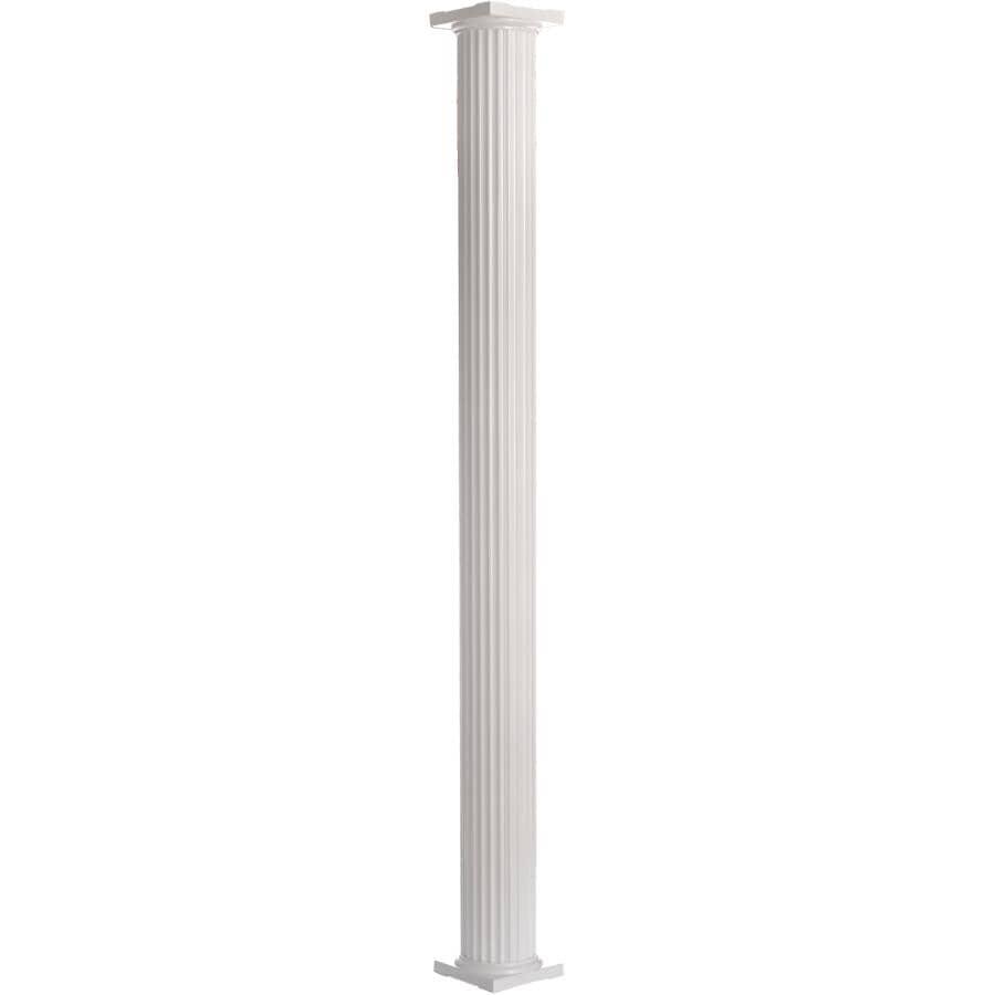 AFCO:Colonne ronde et cannelée de 8 po x 8 pi en aluminium, blanc