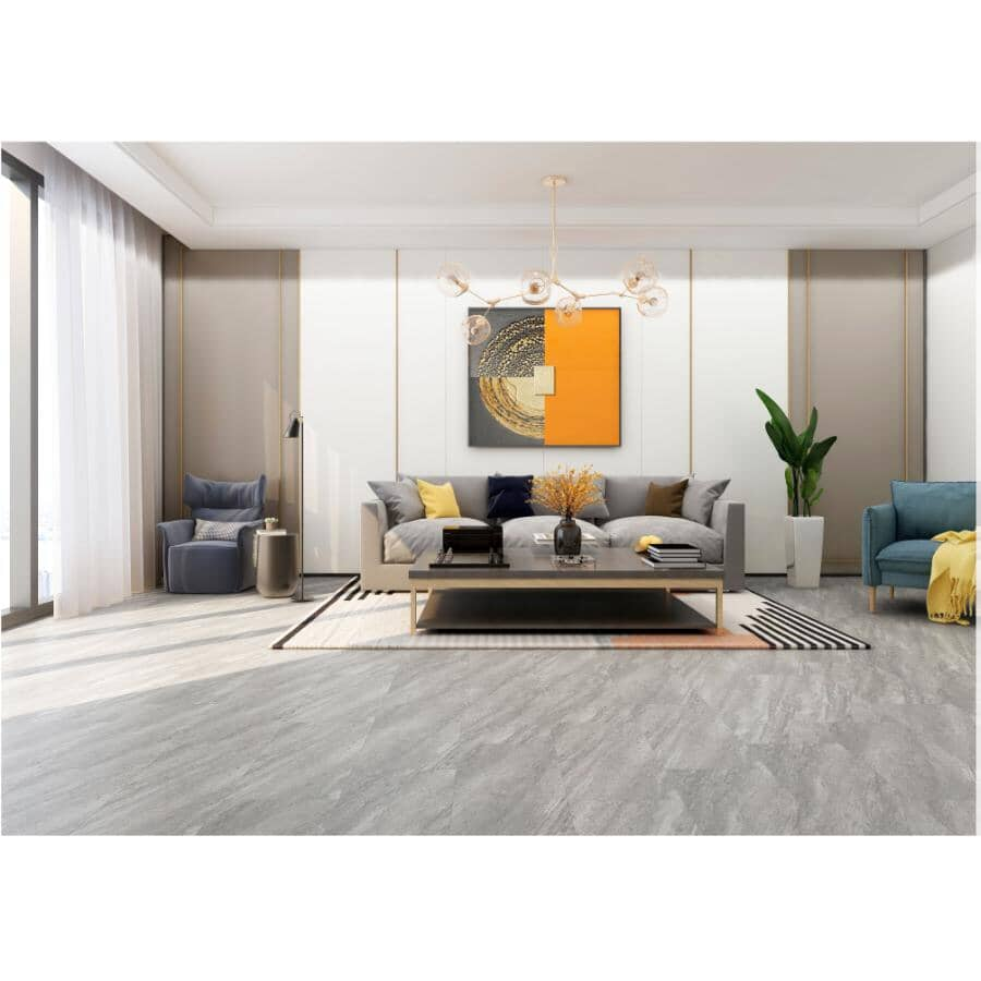 """TAIGA BUILDING PRODUCTS:Stonewear Collection 12"""" x 24"""" SPC Tile Flooring - Grey Silt, 23.25 sq. ft."""