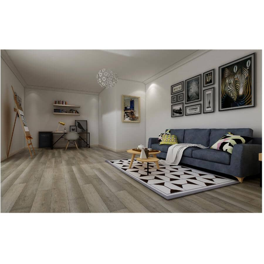 """TAIGA BUILDING PRODUCTS:Stonewear Collection 6"""" x 48"""" SPC Plank Flooring - Leather, 19.7 sq. ft."""