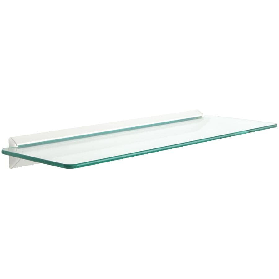 """JOHN STERLING:6"""" x 18"""" Glass/White Rectangular Shelf Kit"""