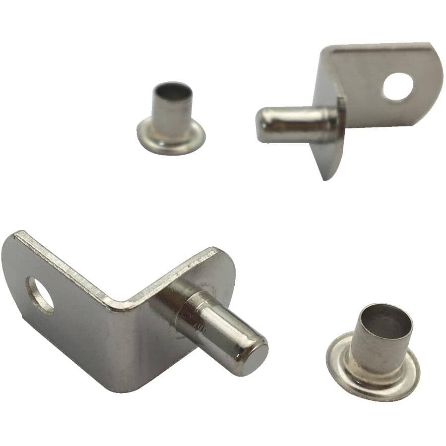 BUILDER'S HARDWARE:8 Pack 5mm Nickel Angled Shelf Supports