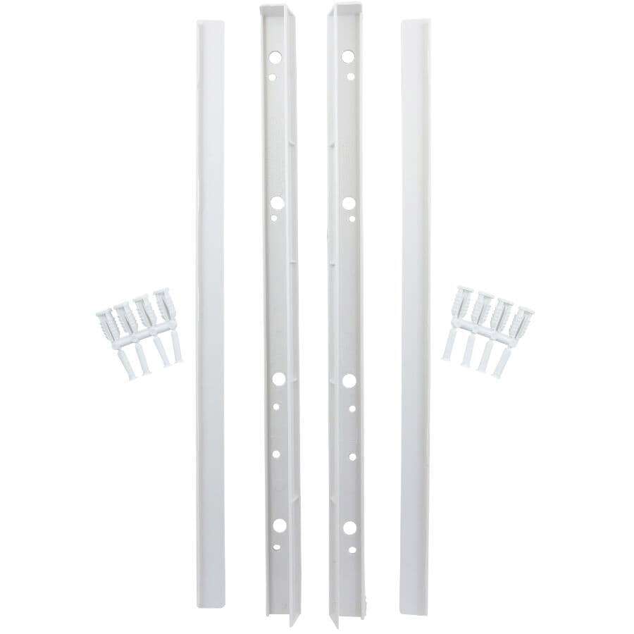 """CREATE A SHELF:1 Pair Per Pack 16"""" White ABS Side Shelf Supports, with Finishing Cap"""