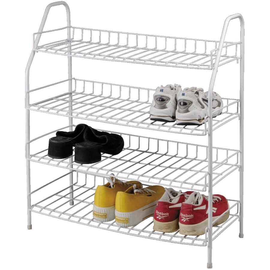 GENERIC:4 Tier White Metal Shoe Rack
